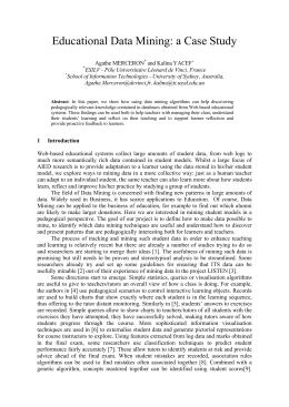 Educational Data Mining: a Case Study