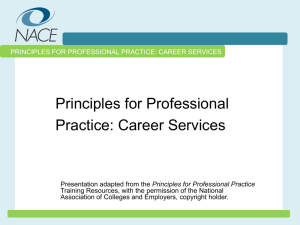 Principles for Professional Practice: Career Services