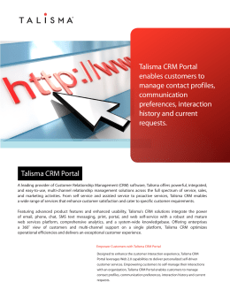 Talisma CRM Portal enables customers to manage contact profiles