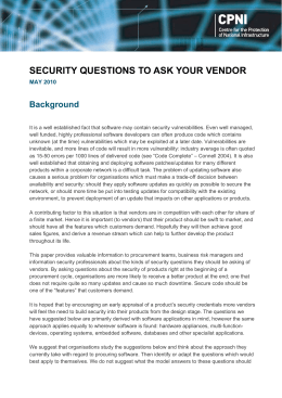 Vendor security questions