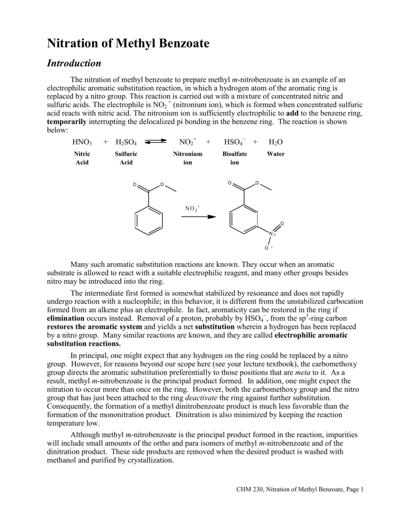 nitration of methyl benzoate experiment