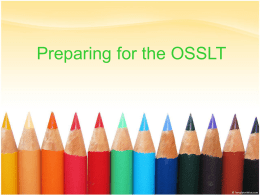 Preparing for the OSSLT - Grand Erie District School Board