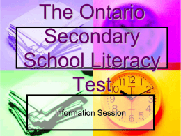 OSSLT Information Presentation - Adam Scott CVI & Intermediate