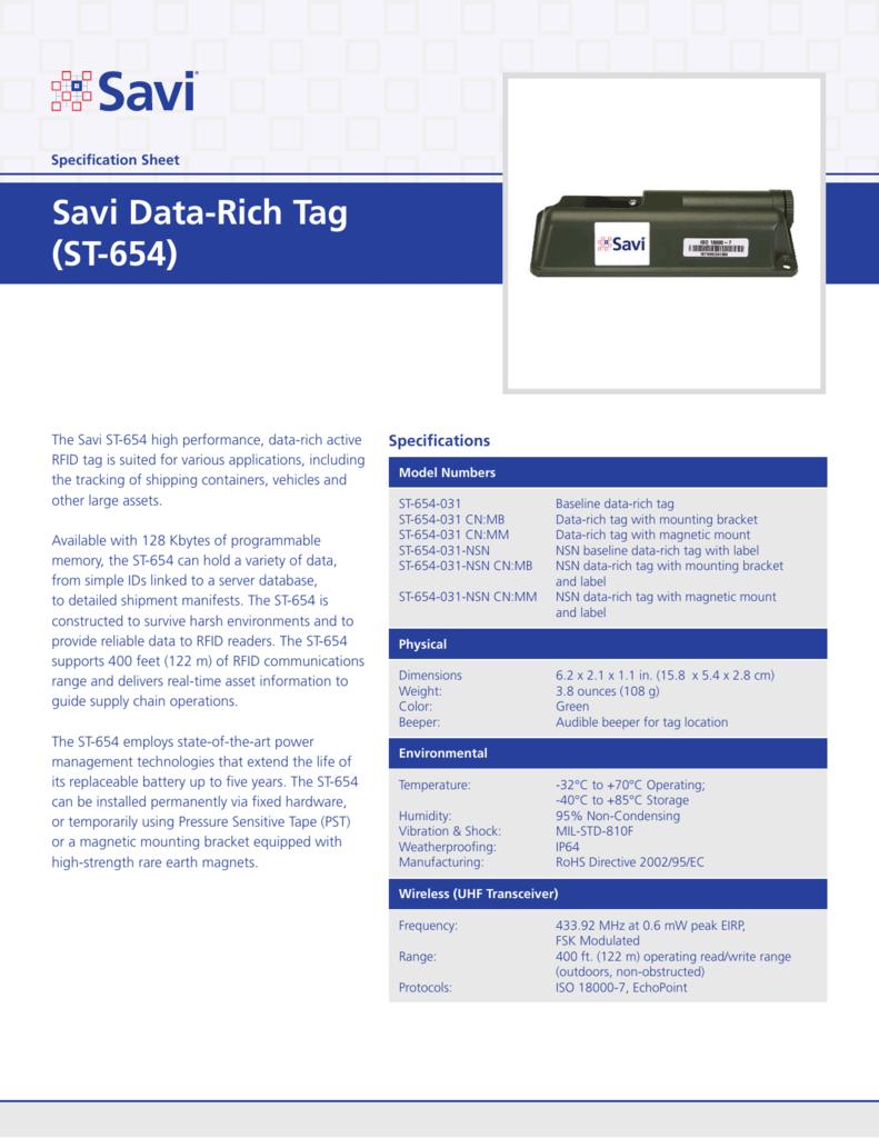 Savi Data-Rich Tag (ST-654)