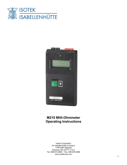 M210 Milli-Ohmmeter Operating Instructions