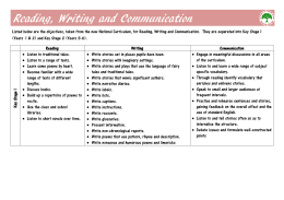 Reading, Writing and Communication