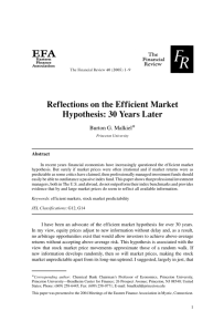 Reflections on the Efficient Market Hypothesis: 30 Years Later