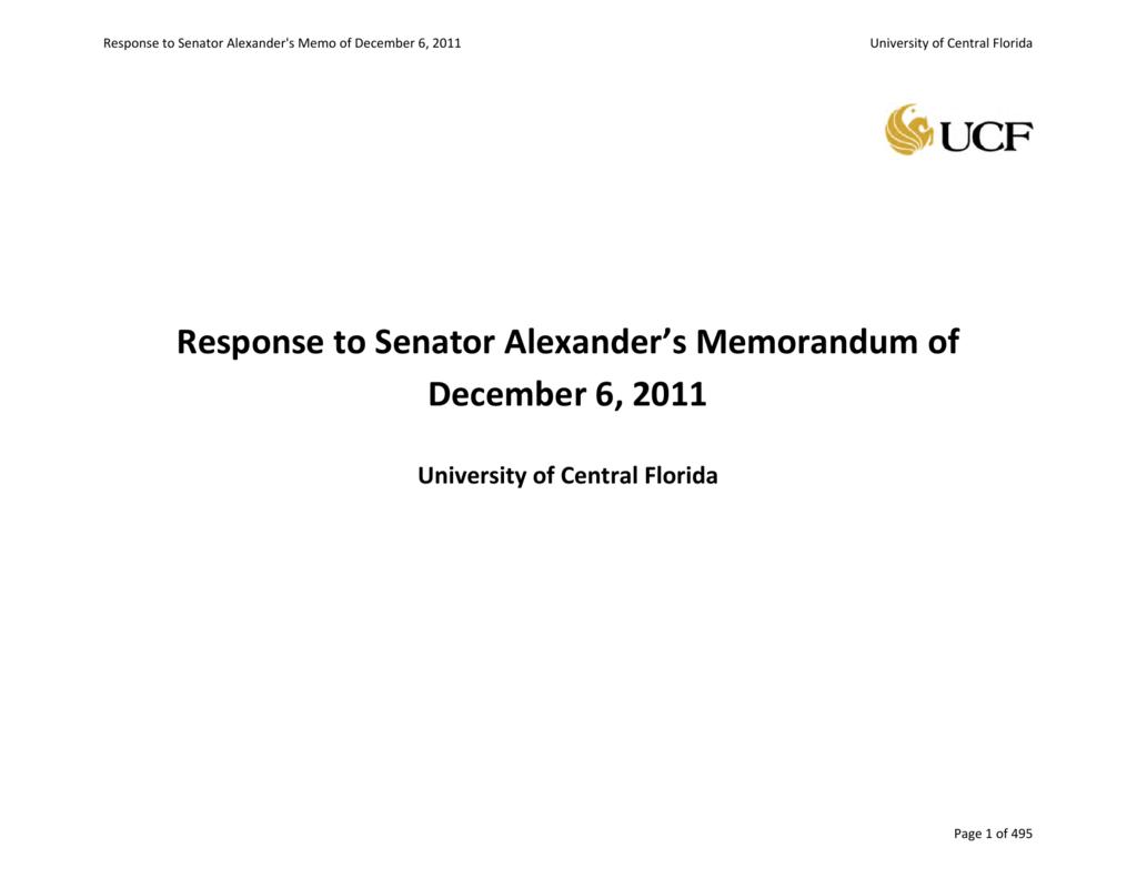 11a9330f4f Response to Senator Alexander s Memorandum of December 6