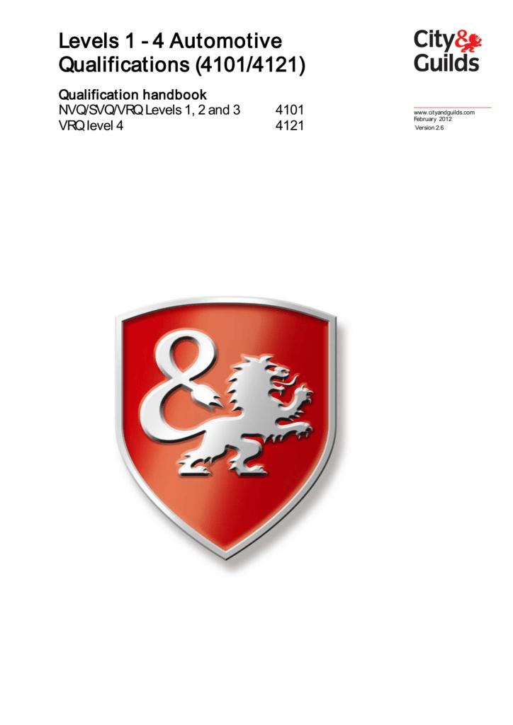 Levels 1 4 Automotive Qualifications 41014121