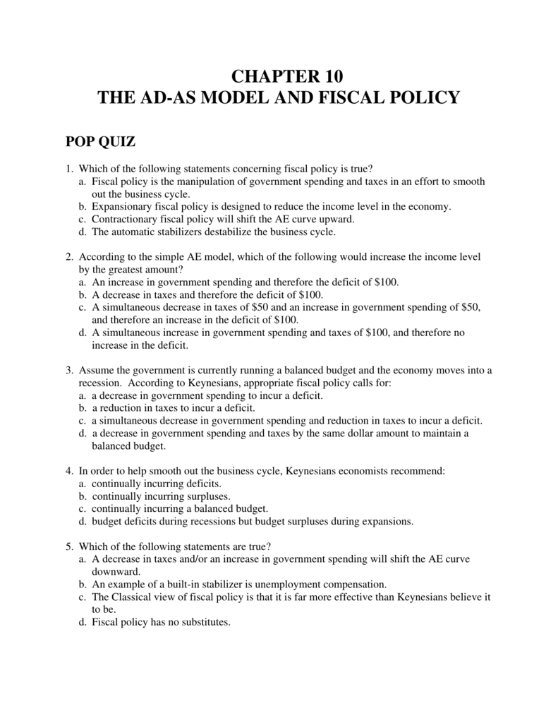 Chapter 10 The Ad As Model And Fiscal Policy Pop Quiz