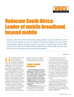 Vodacom South Africa: Leader of mobile broadband