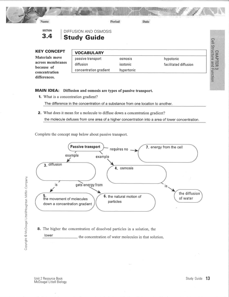 worksheet Tonicity And Osmosis Worksheet study guide science with ms ortiz