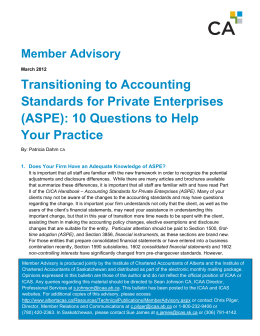 Transitioning to Accounting Standards for Private Enterprises (ASPE