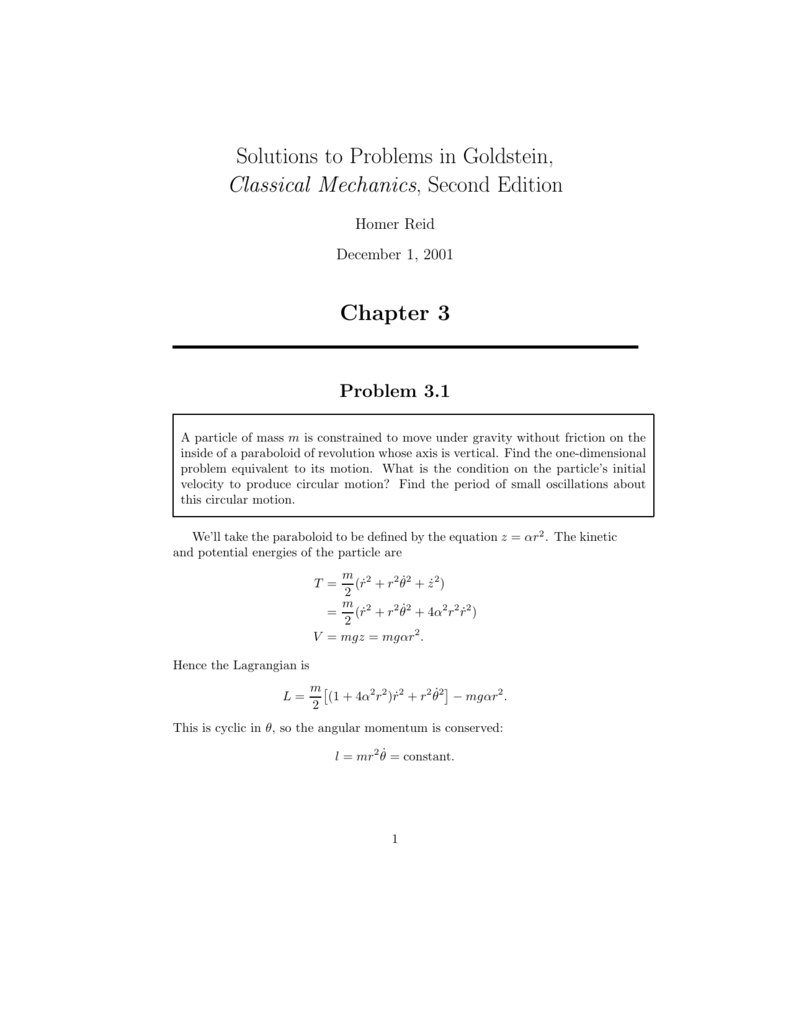 Solutions to Problems in Goldstein, Classical Mechanics