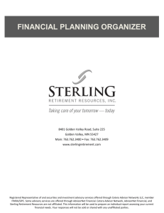 financial planning organizer - Sterling Retirement Resources, Inc.