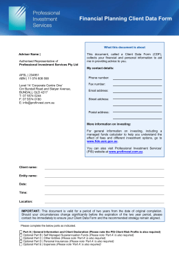 Financial Planning Client Data Form