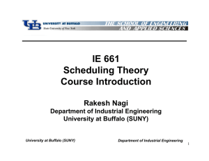 IE 661 Scheduling Theory Course Introduction