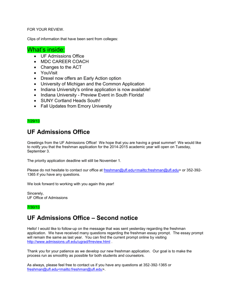 Uf Application Deadline >> Uf Admissions Office Uf Admissions Office