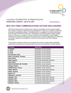 WCD 2015 Author Conflict of Interest Disclosures