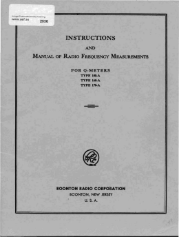 Instructions and Manual of Radio Frequency Measurements for Q