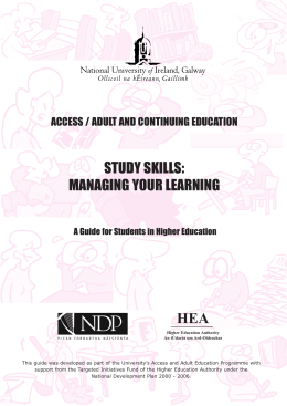 study skills: managing your learning