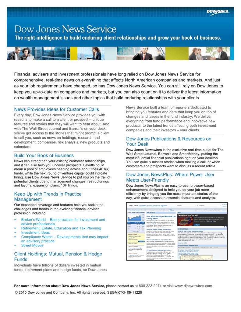 Dow Jones News Service Fact Sheet