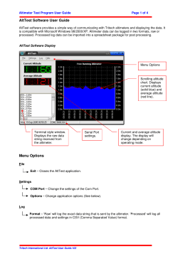 AltTest Software User Guide Menu Options