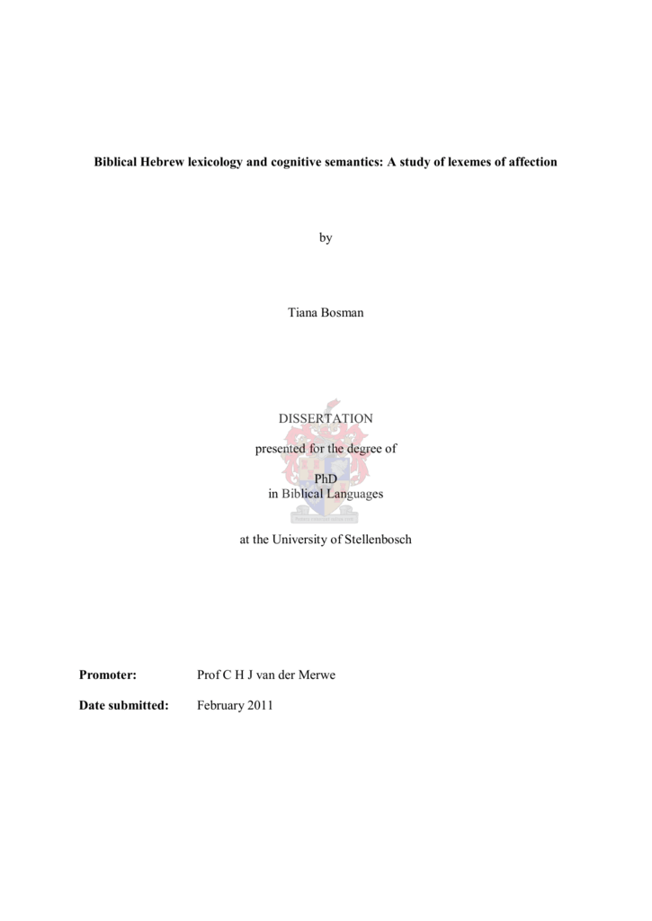 Biblical Hebrew lexicology and cognitive semantics: A study of