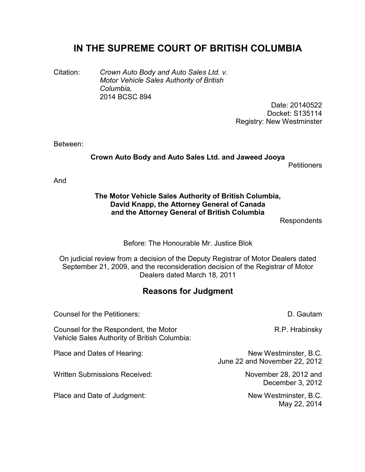 Judge Blok Re Crown Auto Body And Auto Sales Ltd V Motor Vehicle