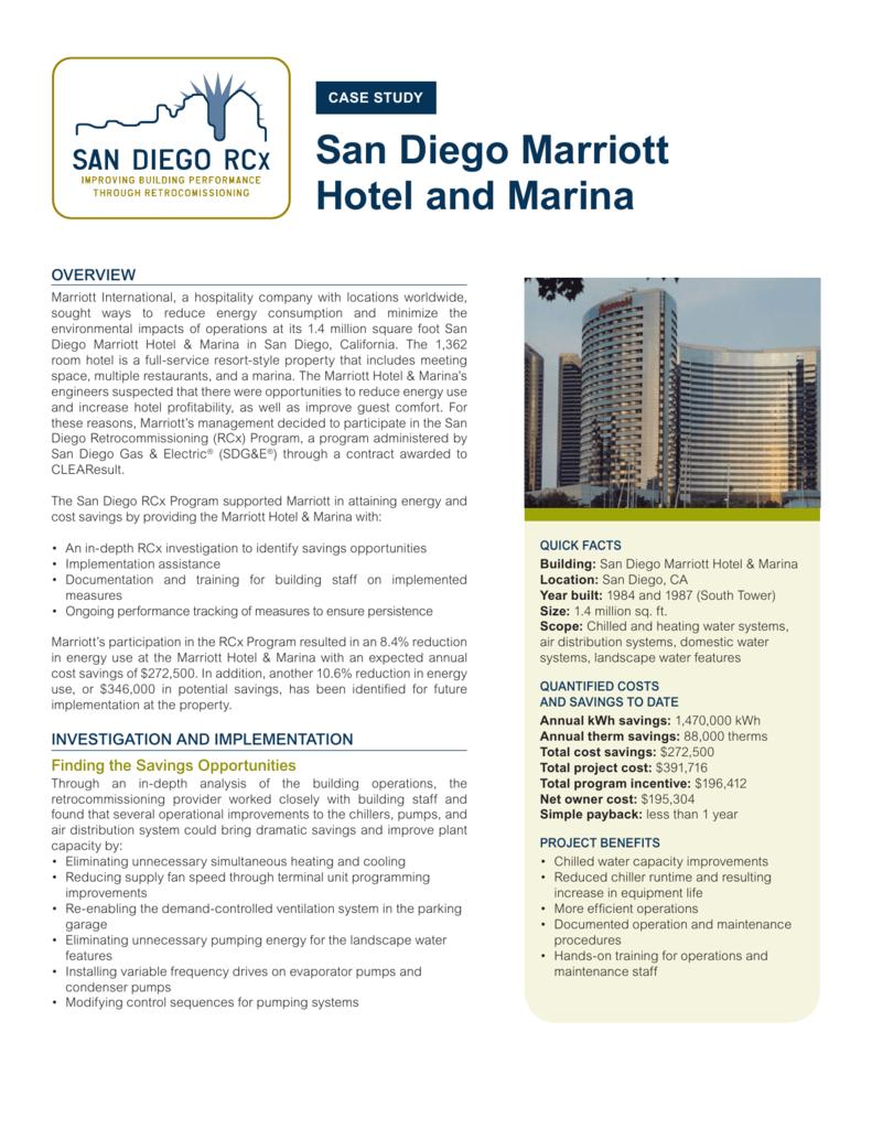 San Diego Marriott Hotel and Marina Case Study | San Diego RCx