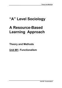 "A"" Level Sociology A Resource-Based"