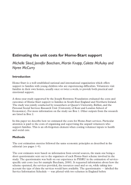 Estimating the unit costs for Home-Start support
