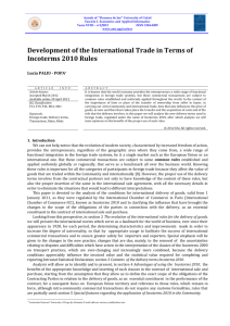 Development of the International Trade in Terms of Incoterms 2010