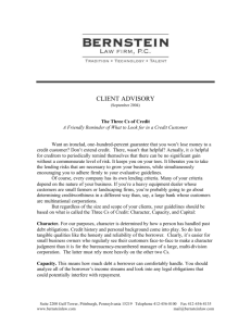 Client Advisory – The 3 Cs of Credit - Bernstein