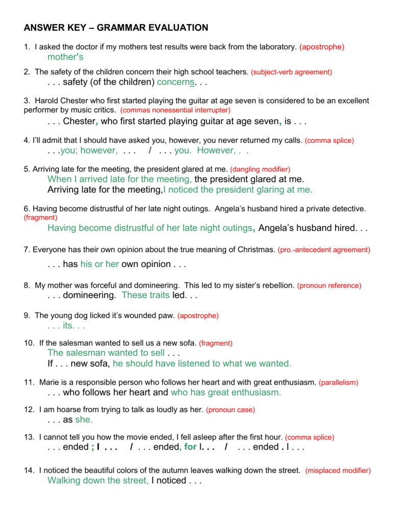 worksheet Dangling And Misplaced Modifiers Worksheet answer key grammar evaluation mothers safety of