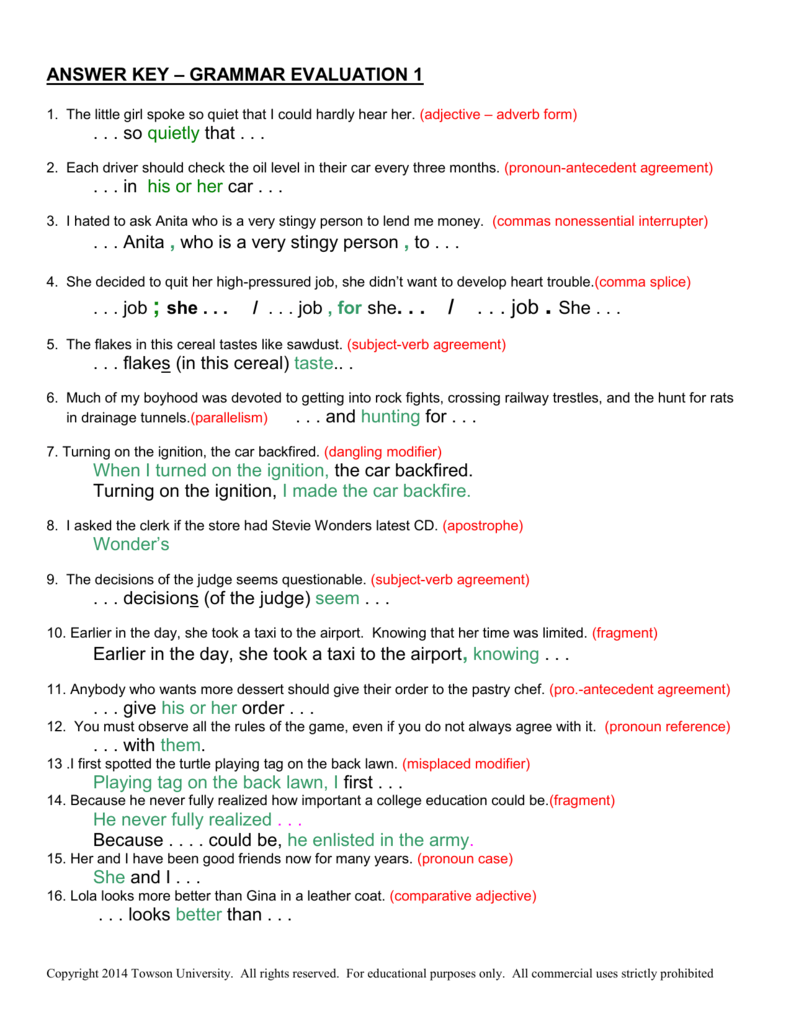 Worksheets Misplaced And Dangling Modifiers Worksheet answer key grammar evaluation 1 so quietly