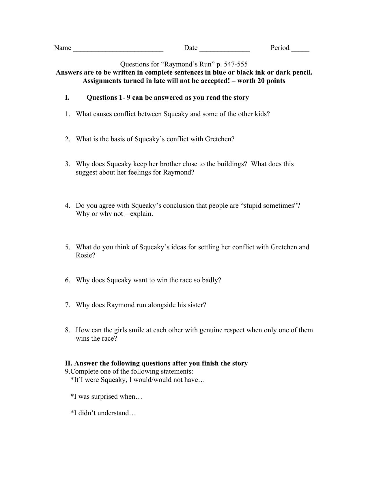 raymonds run essay topics