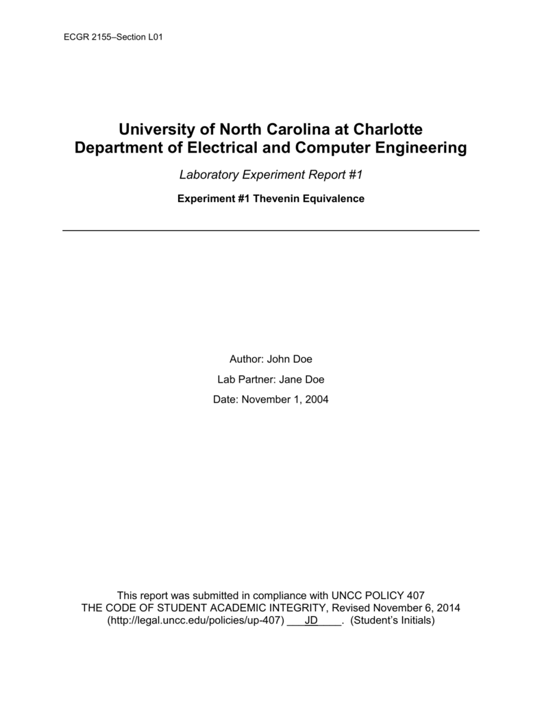 Example Lab Report - Electrical and Computer Engineering at UNC