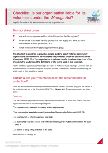 Volunteer liability checklist - Not for Profit Law Information Hub