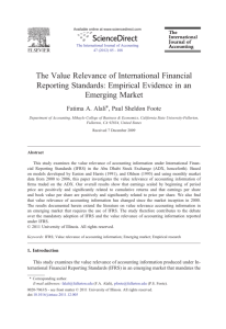 The Value Relevance of International Financial Reporting Standards