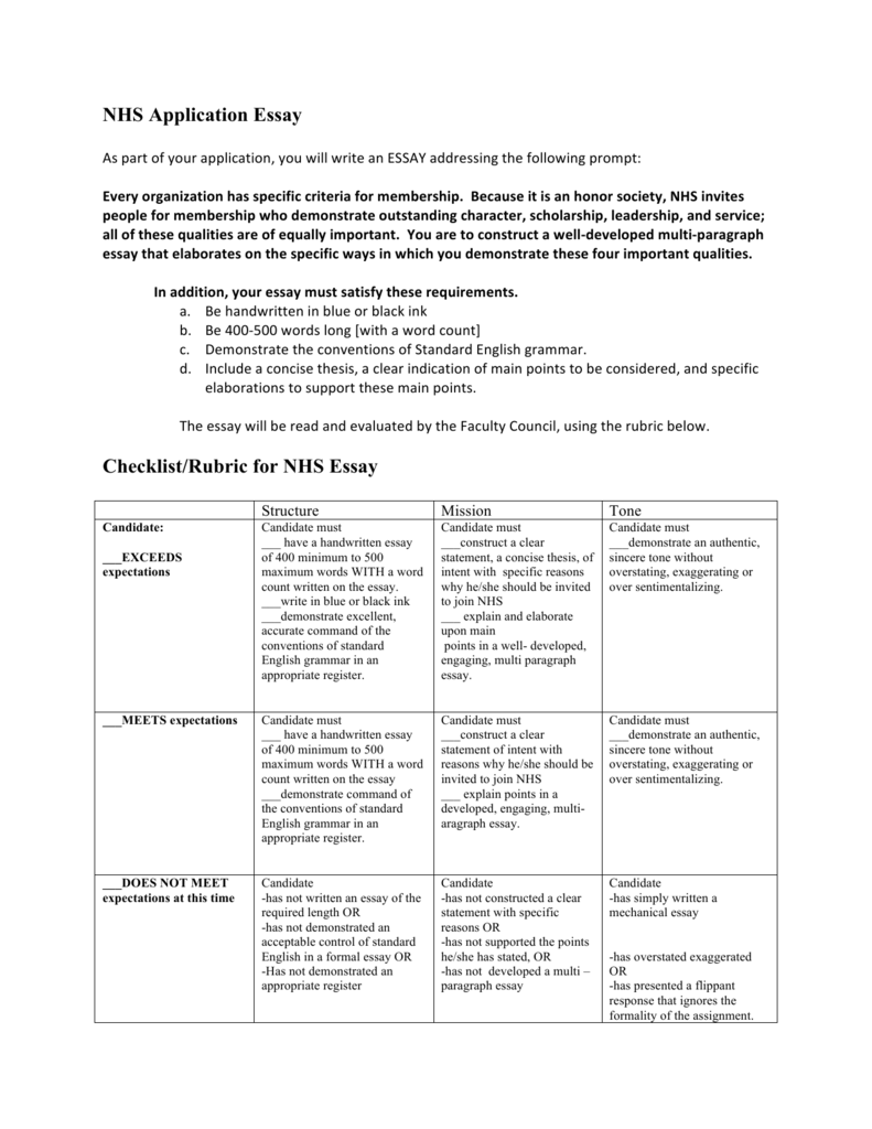 NHS Application Essay Checklist Rubric For