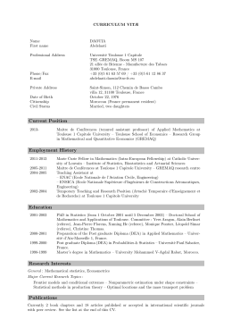Current Position Employment History Education Research Interests