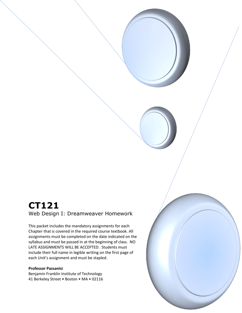 Web Design I Dreamweaver Homework