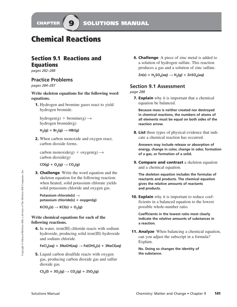 balancing chemical equations challenge problems