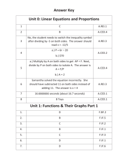 Answer Key Unit 0: Linear Equations and Proportions Unit 1