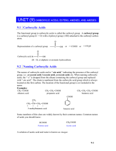 Unit (9) Carboxylic Acids, Esters, Amines