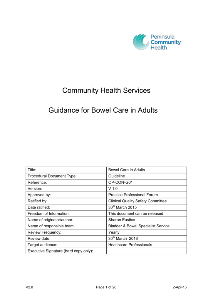 Guidance For Bowel Care In Adults - the Royal Cornwall Hospitals