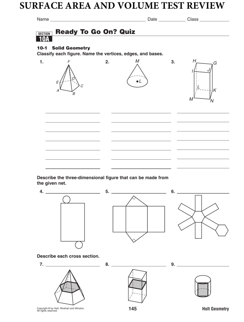 Holt Geometry Surface Area And Volume Answers