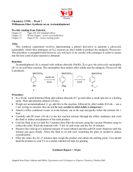 Chemistry 3719L – Week 7 Williamson Ether Synthesis on an