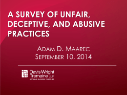 A SURVEY OF UNFAIR, DECEPTIVE, AND ABUSIVE PRACTICES